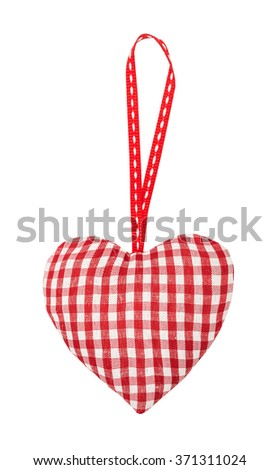 Checkered heart on a textile ribbon, for St. Valentine's Day isolated on the white - stock photo