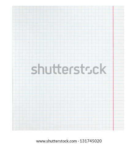 checkered notebook paper - stock photo