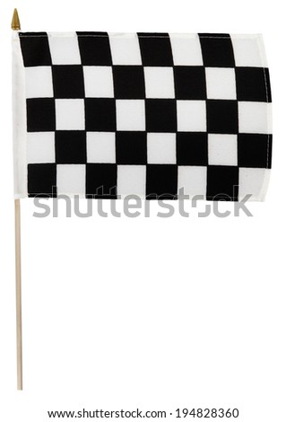 Checkered racing flag on pole. White background - stock photo