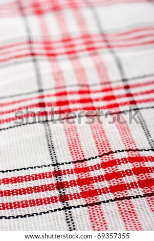 Checkered tablecloth macro background perspective view - stock photo