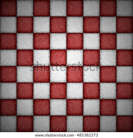 Checkered textured pattern of red and white chessboard background