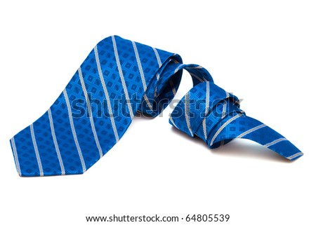 checkered tie close up on white background - stock photo
