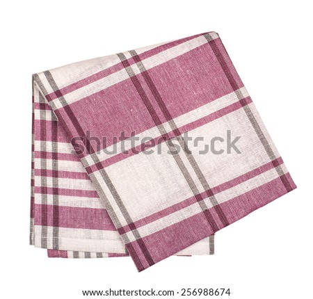 Checkered with red and white tablecloth isolated over white background - stock photo