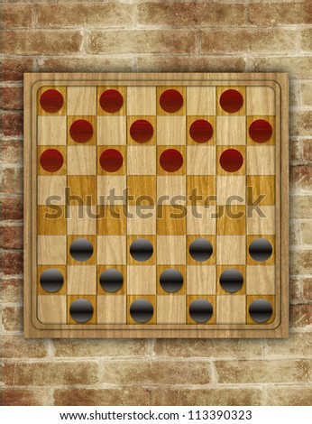 checkers board table on brick background