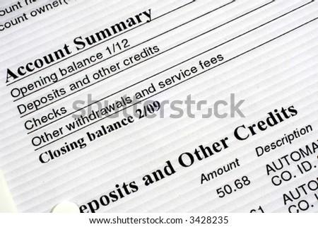 Checking Account Summary - stock photo