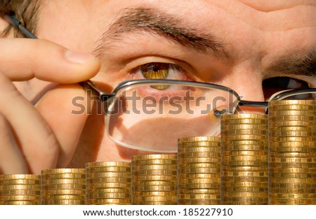 Checking and account of the financial condition stock market. - stock photo