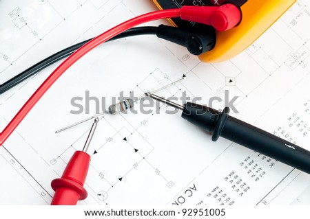 Checking Circuit by Multi-Meter. Electrical Engineer on during checking circuit board unit by Multi-Merer