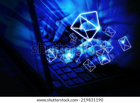 Checking email - stock photo