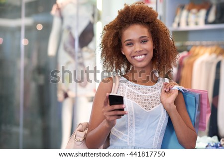Checking in at the mall - stock photo