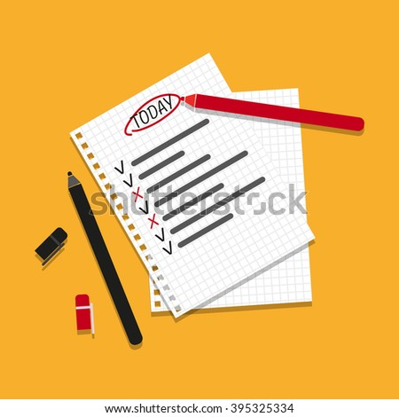 Checking on To Do List. Business Concept. Check The Checklist Cartoon. Top View - stock photo