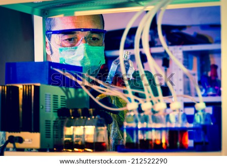 Checking rise Cell Culture installation - stock photo