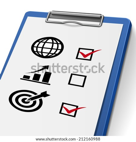 checklist clipboard with check boxes marked for business concept icons - stock photo