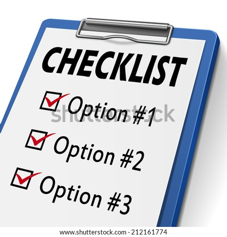 checklist clipboard with check boxes marked for option one, two and three - stock photo