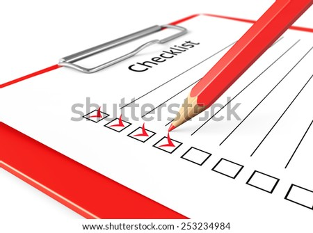 Checklist concept. Red clipboard, sheet of paper with check marks and pencil. - stock photo
