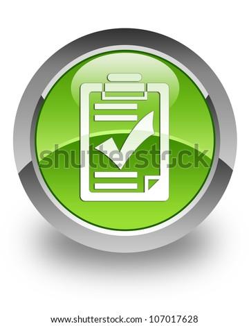 Checklist icon on glossy green round button - stock photo