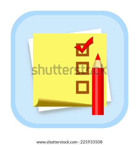 Checklist icon with sticky note paper and pencil - stock photo