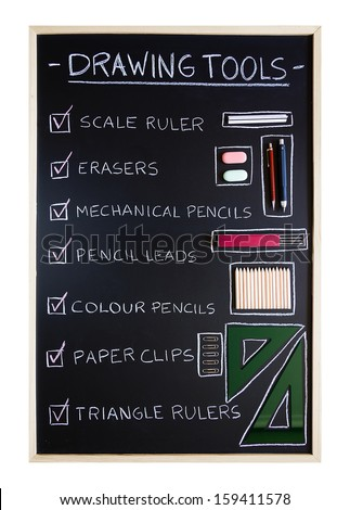 Checklist of drawing tools over blackboard background - stock photo