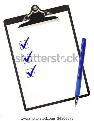 Checklist on clipboard, with blue ticks and ballpoint pen. - stock photo