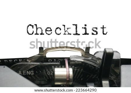 Checklist on typewriter - stock photo