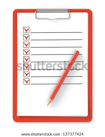 Checklist. Red clipboard and pencil isolated on white - stock photo