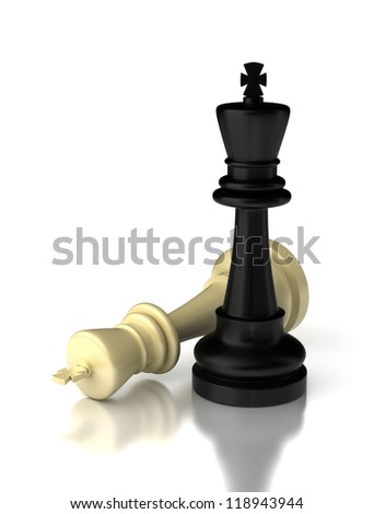 Checkmate on white background (high resolution computer generated image)