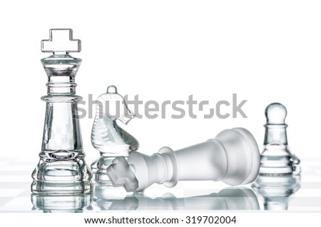 Checkmate Strategy on chess board, business War Winning, topple  Conquering Adversity - stock photo