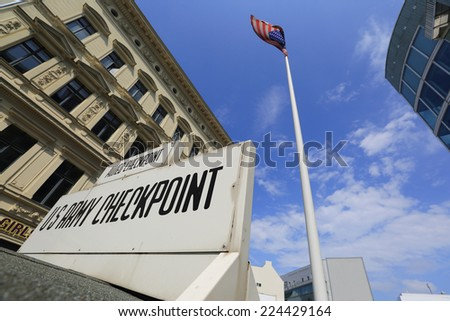 Checkpoint Charlie, Berlin, Germany - stock photo