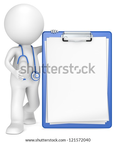 Checkup. 3D little human character The Doctor with a Clipboard. Blue and Blank for Copy Space.People series. - stock photo