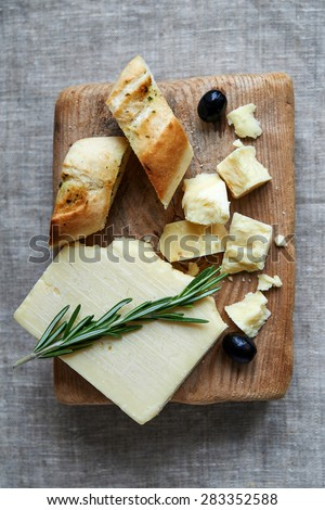 cheddar cheese and red wine. top view - stock photo
