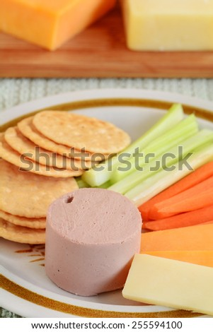 Cheddar cheese, pate, vegetable sticks and rice crackers for a healthy, gluten free snack - stock photo