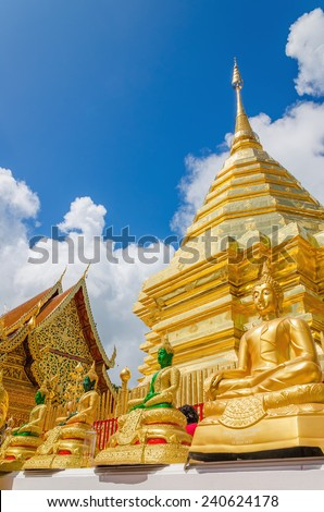 Chedi at Wat Phra That Doi Suthep the most popular temple in Chiang Mai, Thailand - stock photo