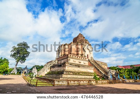 Chedi Luang Pagoda in the morning, Wat Chedi Luang Temple with cloudy  and blue sky- Chiang mai, Thailand.