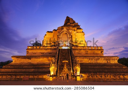 Chedi Luang temple in Chiang Mai : Most popular Thailand - stock photo