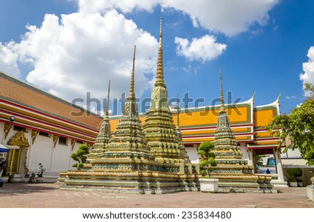 Chedi Rai near Phra Rabieng cloister, Wat Pho, Temple of the Reclining Buddha, official name Wat Phra Chettuphon Wimon Mangkhlaram Ratchaworamahawihan, Bangkok, Thailand - stock photo