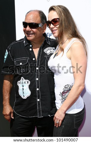 "Cheech Marin and Natasha Rubin at the Launch of The World of ""Cars"" Online, Bobs Big Boy, Burbank, CA. 08-11-10"