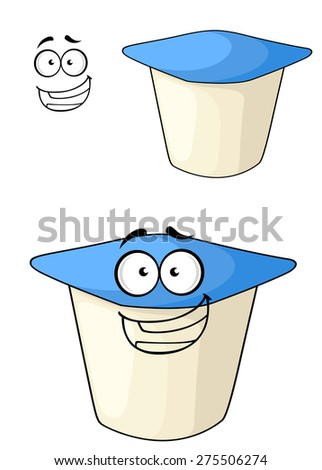 Cheeky white and blue cartoon yoghurt with a happy smile with a second plain variation with a separate smiling face element, isolated on white - stock photo
