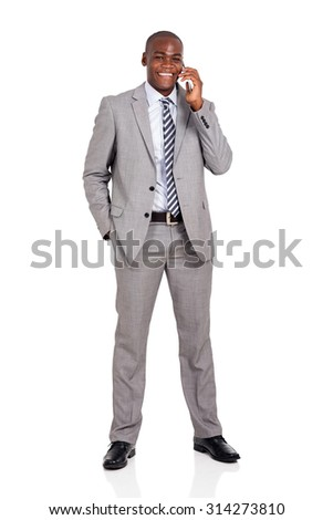 cheerful african american business man talking on cell phone - stock photo