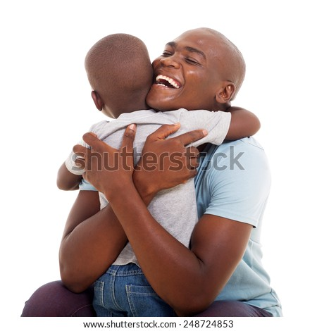 cheerful african american man hugging his son isolated on white background