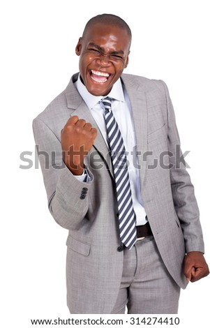 cheerful african business man holding fists on white background - stock photo