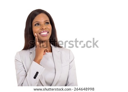 cheerful african businesswoman looking up on white background - stock photo
