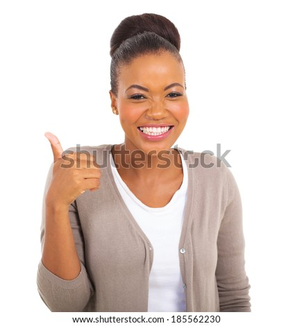 cheerful african businesswoman with thumb up gesture - stock photo