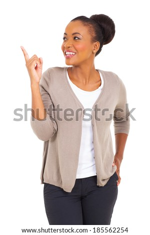 cheerful african woman pointing up isolated on white background - stock photo