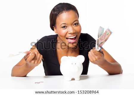 cheerful african woman with money isolated on white - stock photo