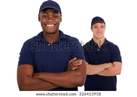 cheerful african worker and colleague on white background - stock photo