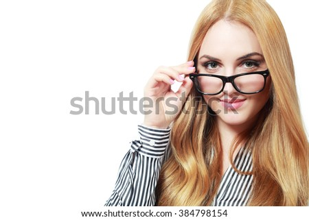 Cheerful and Confident Business Woman Wearing Eye Glasses - stock photo