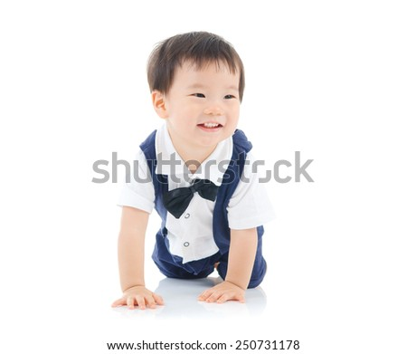Cheerful asian baby on white background - stock photo