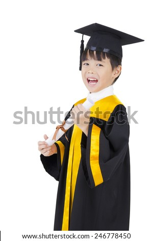 Cheerful asian boy in graduation gown and mortarboard