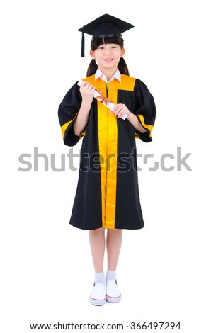 Cheerful asian child in graduation gown holding certificate isolated on white background - stock photo