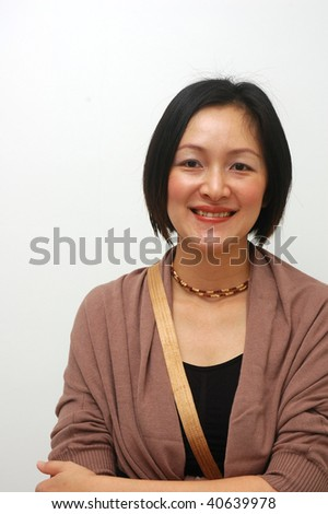 cheerful asian lady