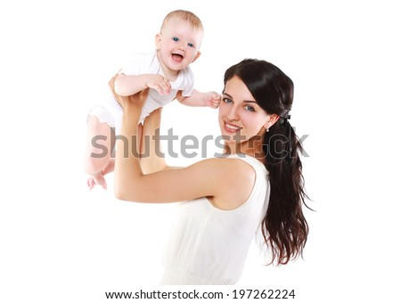 Cheerful baby and mother